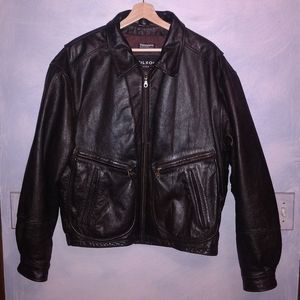Thick leather biker jacket by Wilsons.